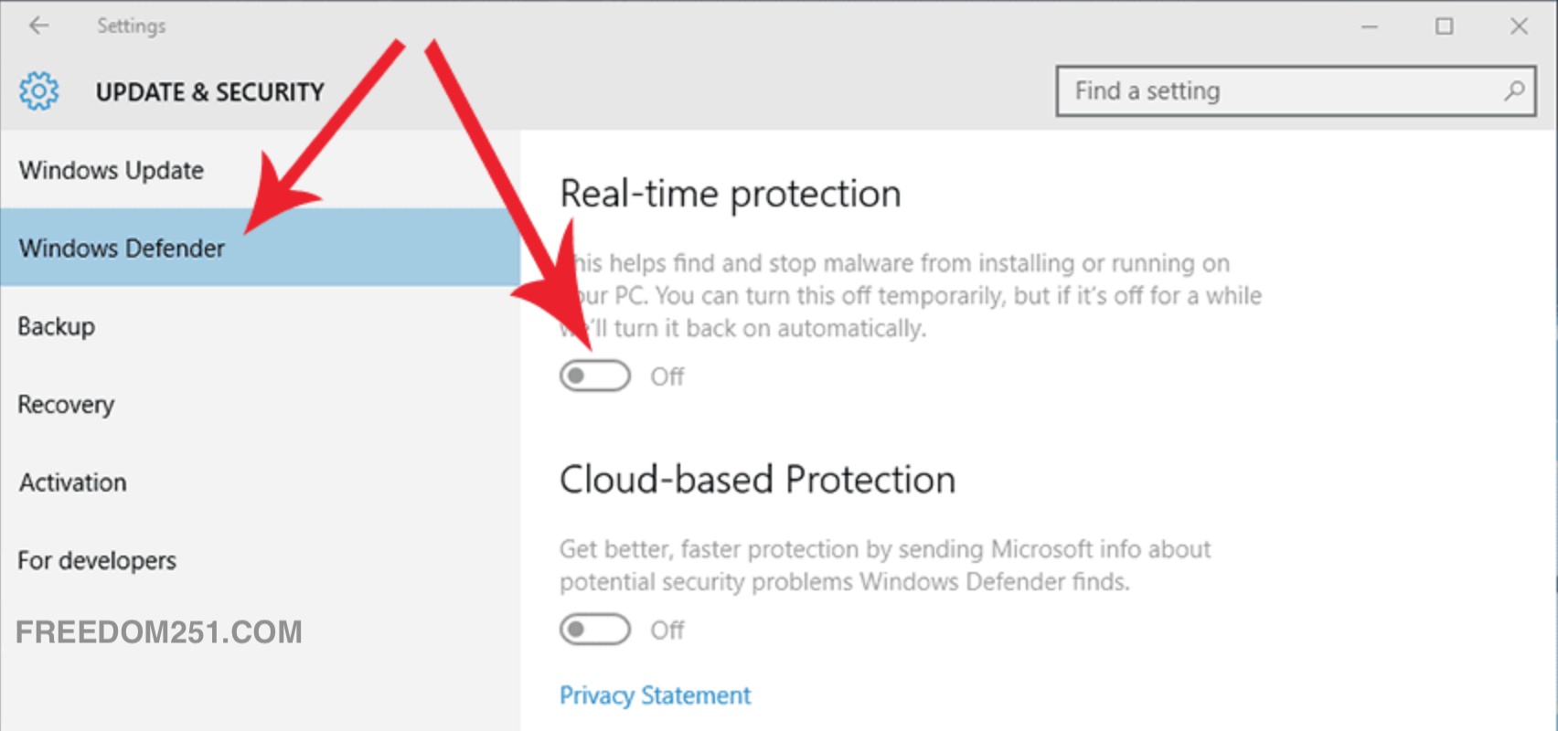 Desactivar la protección en tiempo real de Windows 10
