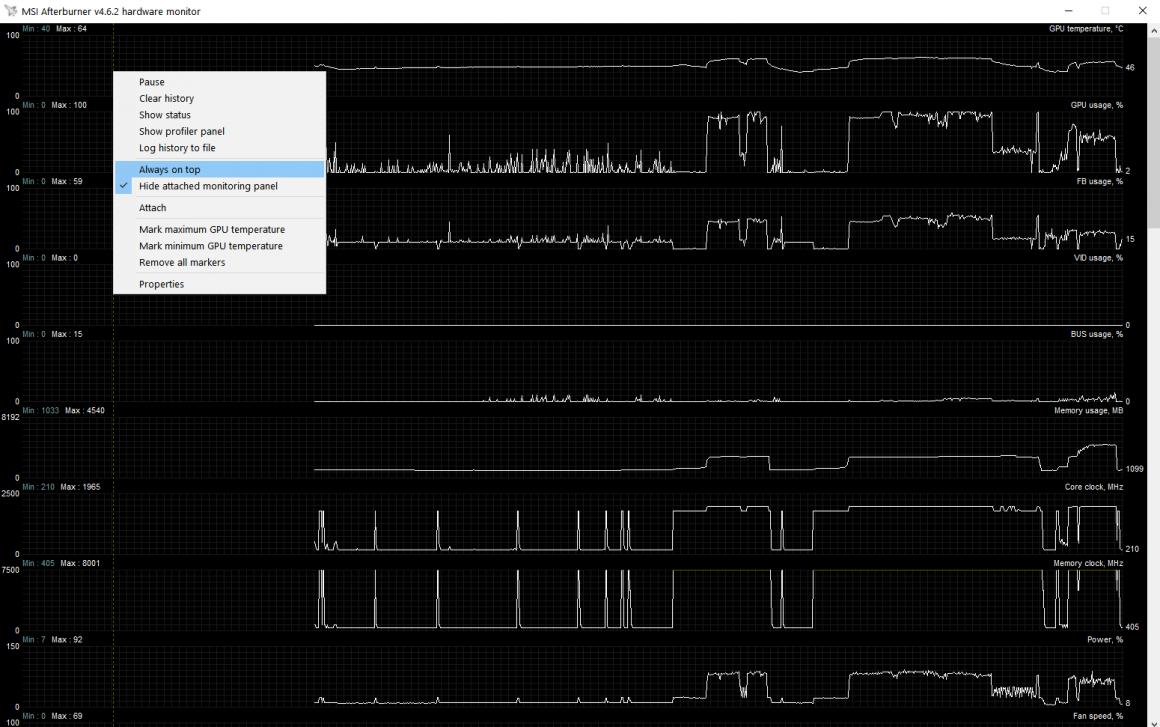 Configuración de monitoreo de Msi Afterburner